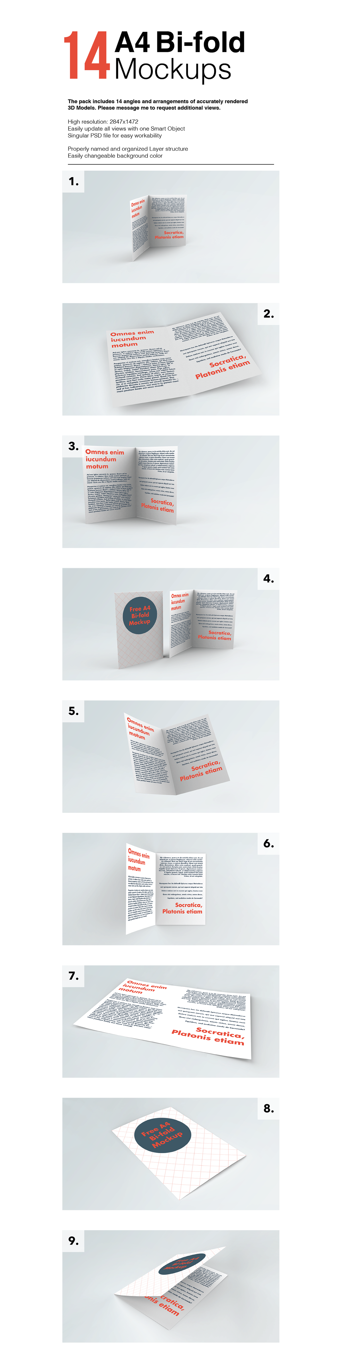 Free A4 Bi-Fold Brochure Mockup With 14 Styles-1