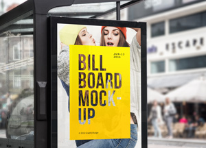 Free Bus Stop Billboard Mockup For Advertisement