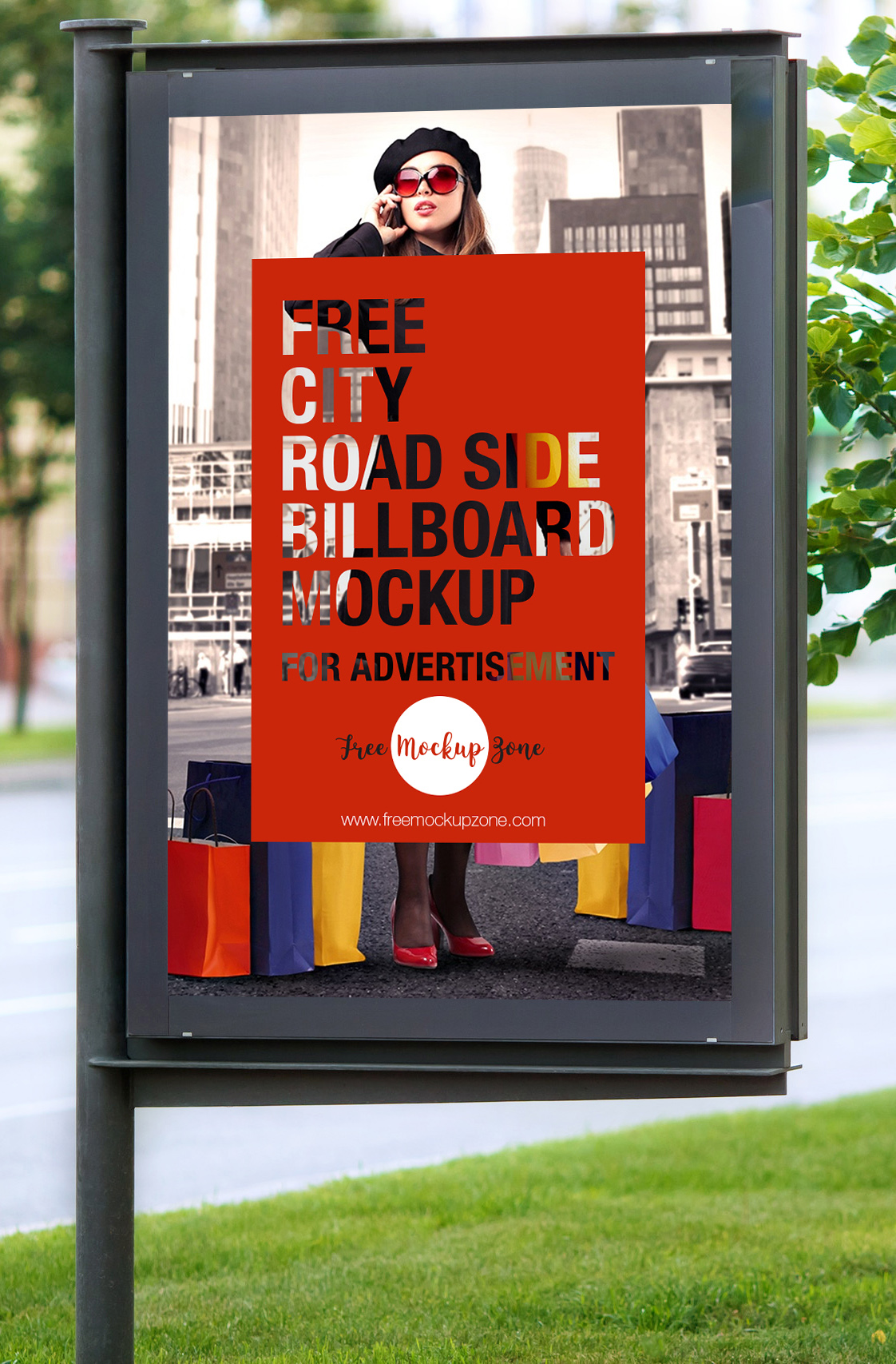Free City Road Side Billboard Mockup For Advertisement-600
