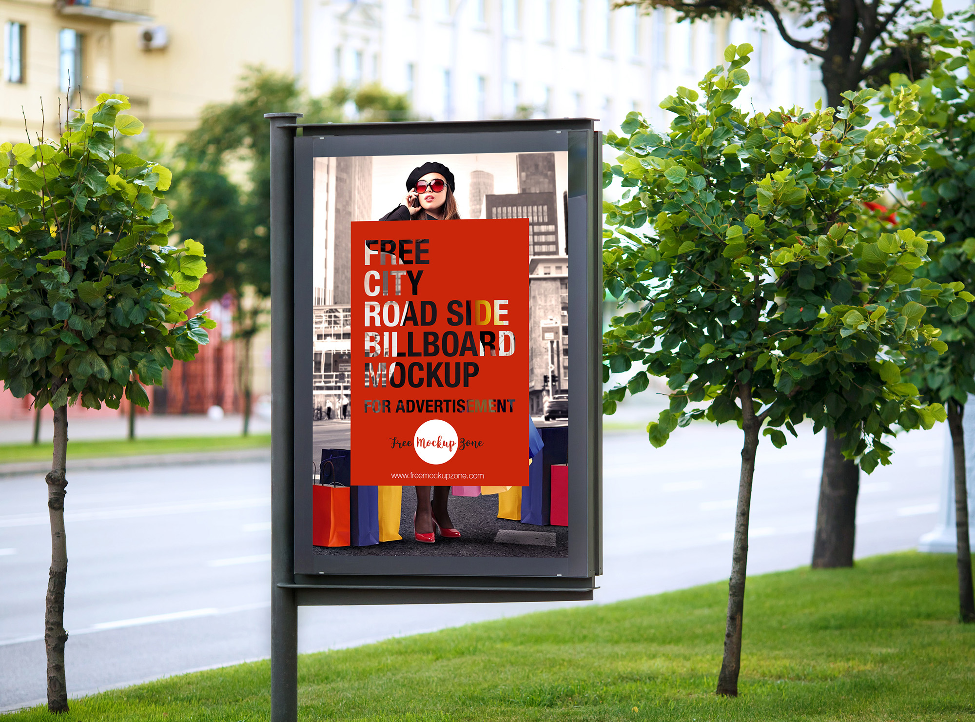 Free City Road Side Billboard Mockup For Advertisement