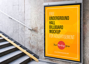 Free Underground Hall Billboard Mockup For Advertisement