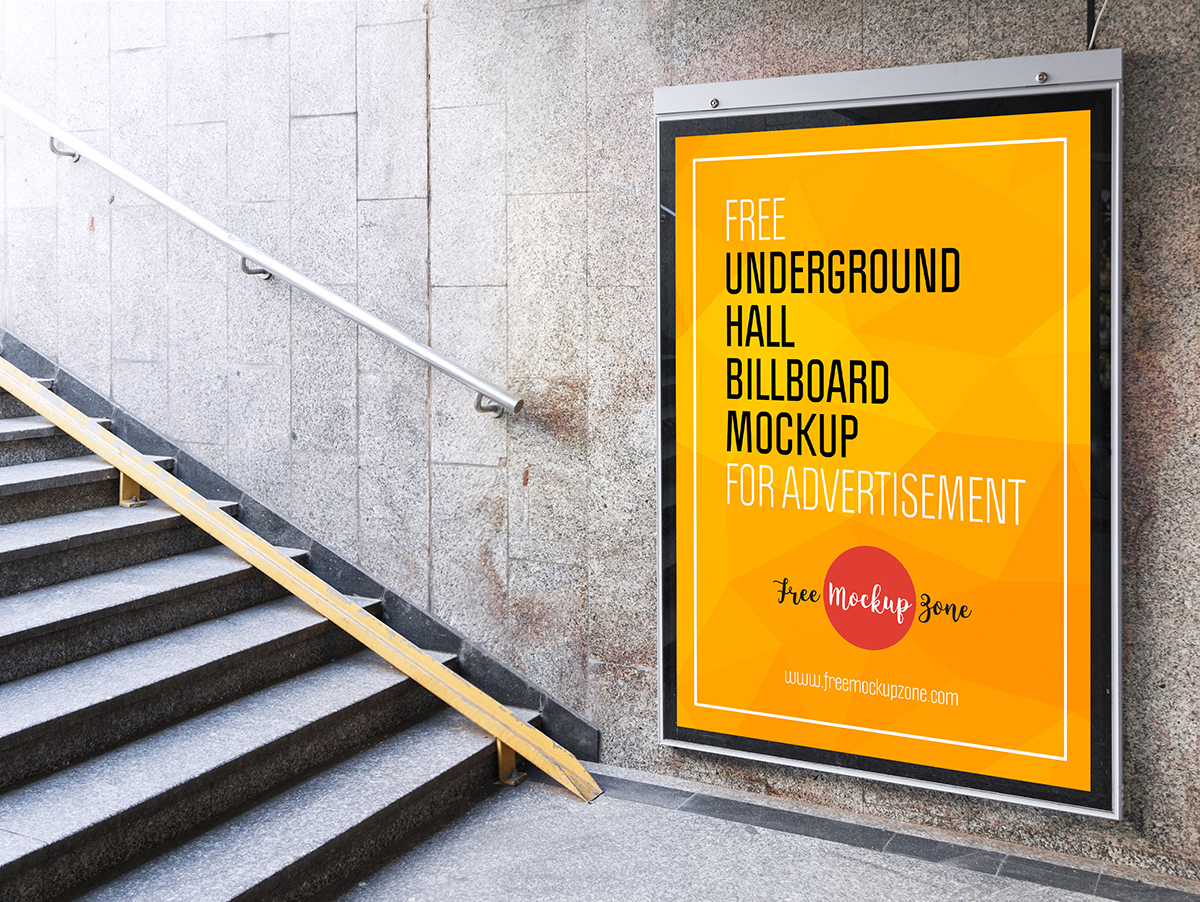 Underground Hall Billboard Mockup For Advertisement