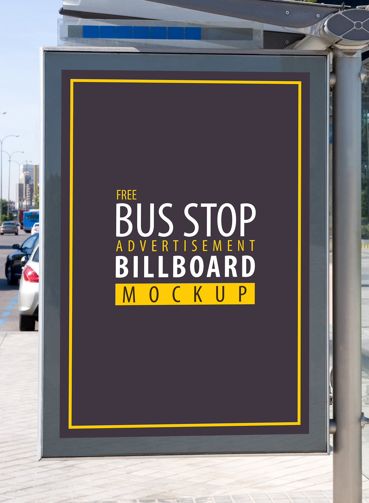 Free Bus Stop Advertisement Billboard PSD Mockup-300