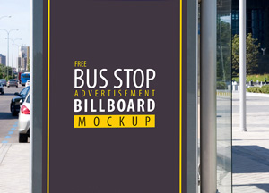 Free Bus Stop Advertisement Billboard PSD Mockup