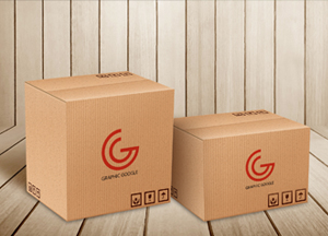 Free Carton Delivery Packaging Box Logo Mockup Psd