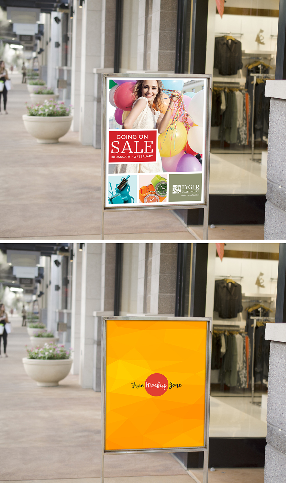 Sale Sign Outside Retail Store Mockup
