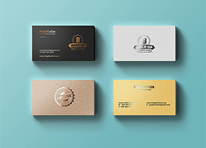 Free Foil Business Cards Mock-up