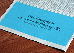 Free Horizontal Newspaper Ad Mockup PSD