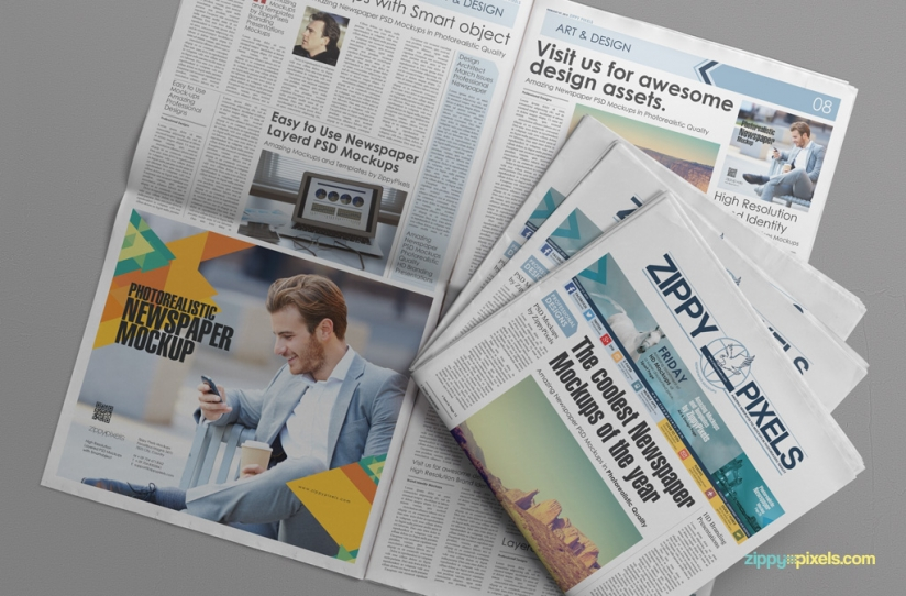 Free Customizable Newspaper  Advertising Mockup  Free Mockup Zone