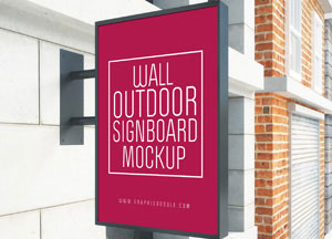 Outdoor Wall Signboard Mock-up For Advertisement