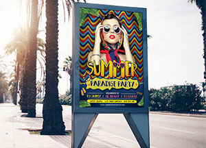 Street City Free Billboard Banner Mock-up PSD For Advertisement