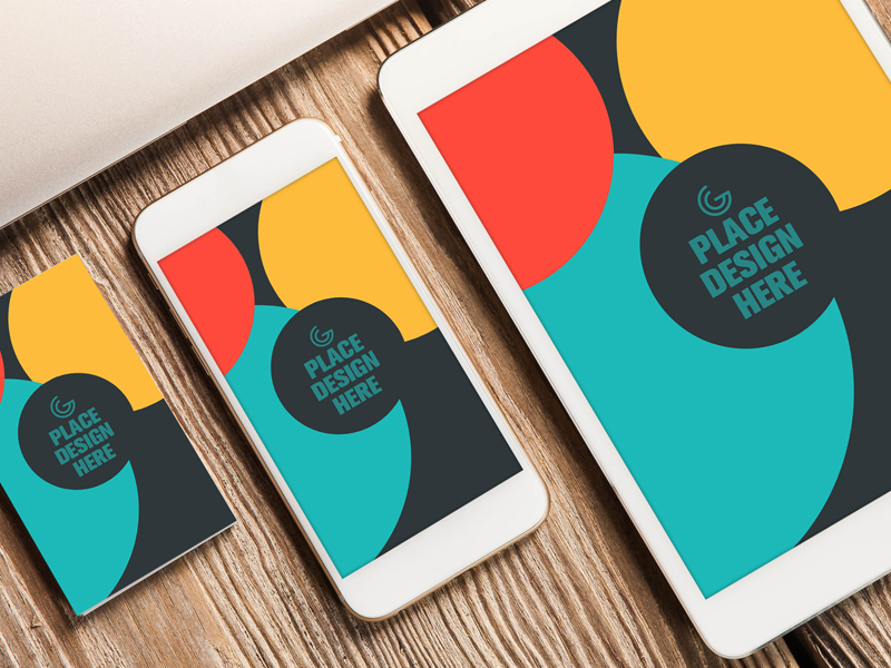 Free elite business card smart phone and tablet mock up psd reheart Images