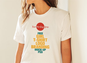 Free Flawless Girl T-Shirt Logo Branding Mock-up Psd