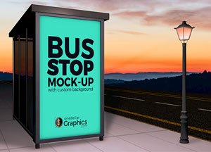 Professional Bus Stop Mock-up For Advertisement