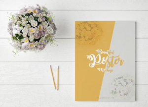 Free Beautiful Poster MockUp With Flowers
