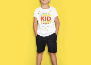 Free Cool Young Kid T-Shirt MockUp Psd