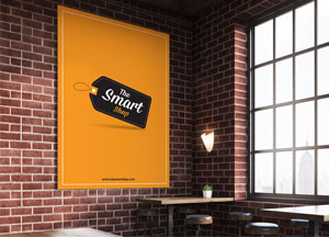 Free Poster MockUp In Restaurant For Promotion & Advertisement