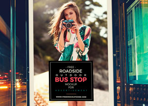 Free Roadside Outdoor Bus Stop Billboard MockUp For Advertisement