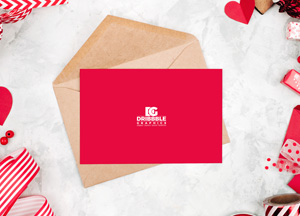 Free Love Greeting Card MockUp For Valentine