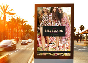 Free Outdoor Roadside Billboard MockUp Psd Template