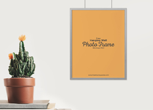 Free Hanging Wall Photo Frame Mockup PSD