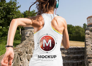 Free Running Girl Tank Top Backside Mockup