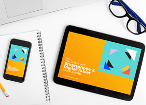 Free Workplace Smartphone & Tablet Mockup