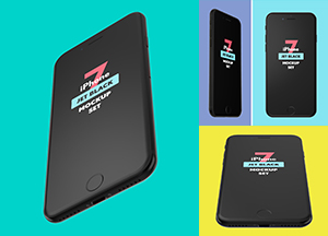 Free iPhone 7 Jet Black Mockup Set