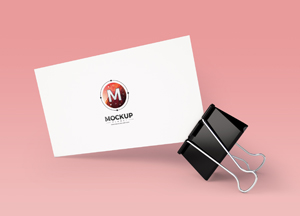 Free Business Card with Clip Mockup PSD