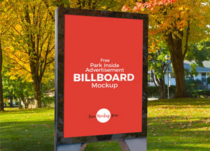 Free Park Inside Advertisement Billboard Mockup PSD
