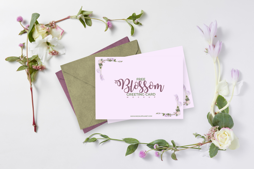 Free Blossom Greeting Card Mockup Psd Template