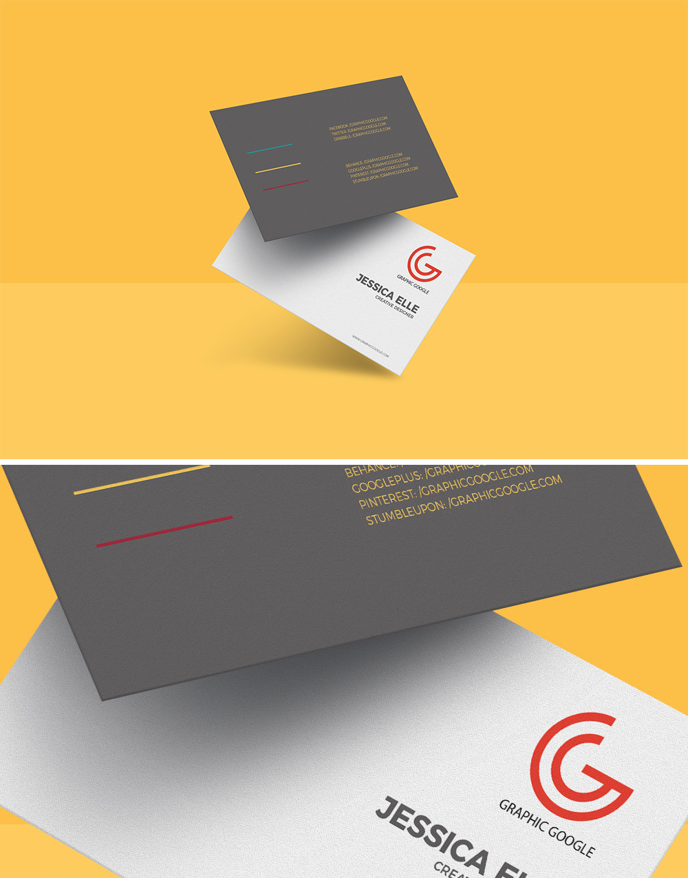 Free floating business card mockup template for Business card presentation template psd