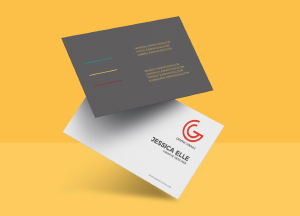 Free Floating Business Card PSD Mockup Template