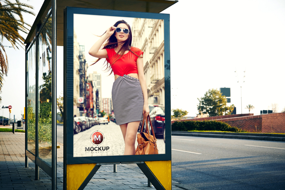 Free-Outdoor-Advertisement-Bus-Stop-Billboard-Mockup