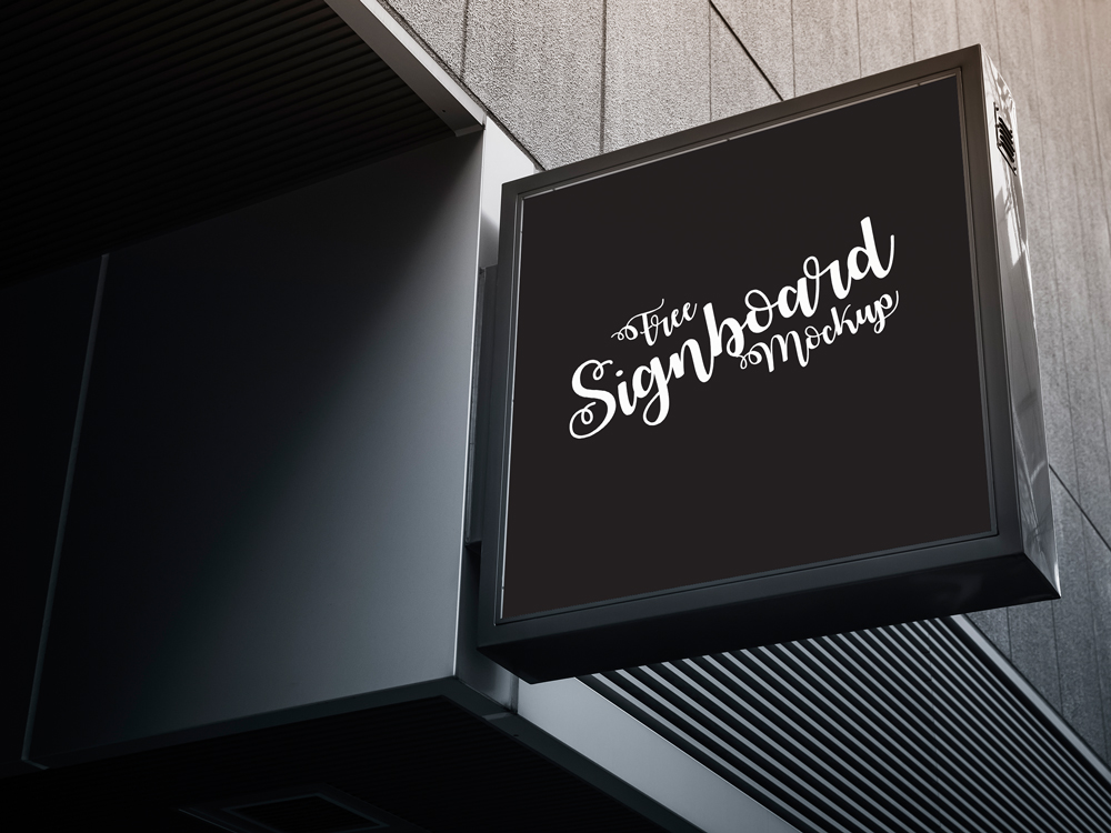 Free Signboard Mockup For Advertisement