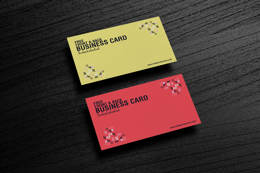 Free texture business card mockup placing on wooden background colourmoves