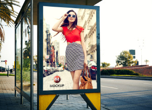 Free Outdoor Advertisement Bus Stop Billboard Mockup