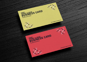 Free Texture Business Card Mockup Placing on Wooden Background
