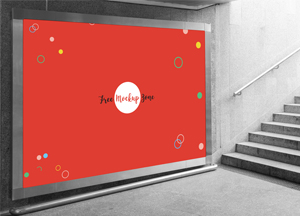 Free Underground Horizontal Billboard Mockup For Advertisement
