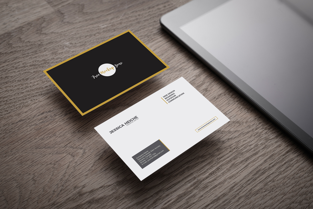 Free business card on wooden table mockup reheart Image collections