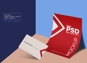 Free PSD Business Card & Paper Branding Mockup