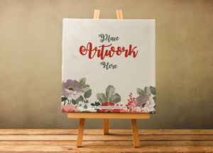 Free Canvas on Wooden Stand Mockup