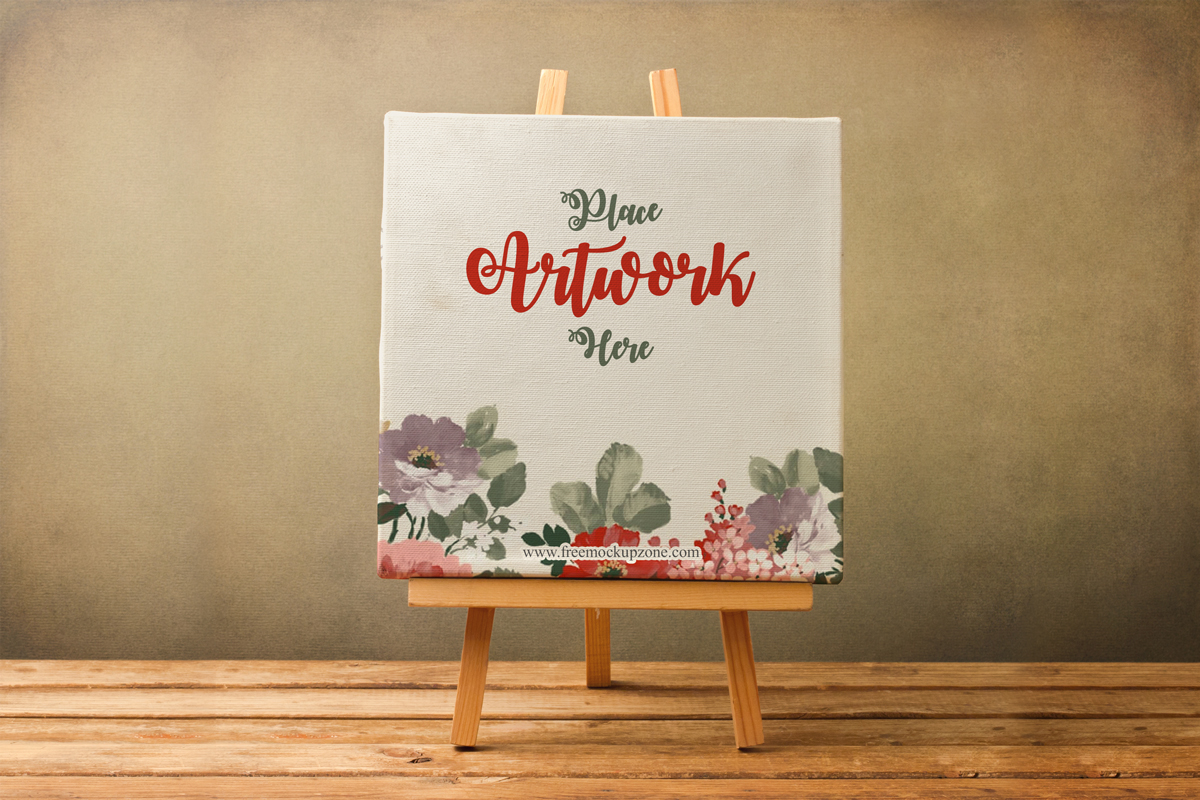 Free-Canvas-on-Wooden-Stand-Mockup