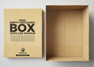 Free Open Cap Box Mockup For Packaging