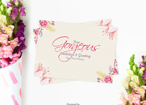 Free Gorgeous Greeting Paper Card Mockup