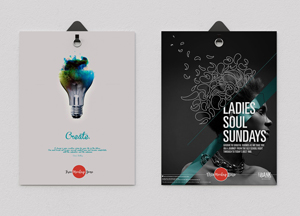 Free 2 Poster Hanging With Clips PSD Mockup