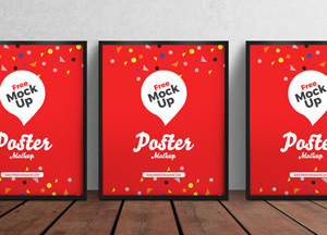 Free 3 PSD Posters on Wooden Floor Mockup