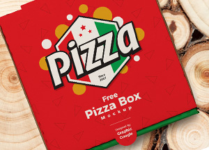 Free Pizza Packaging Box PSD Mockup