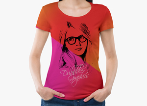 Free Round Neck Girl T-Shirt Mockup