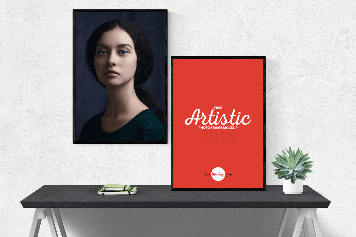 Free-Artistic-2-Photo-Frames-Mockup
